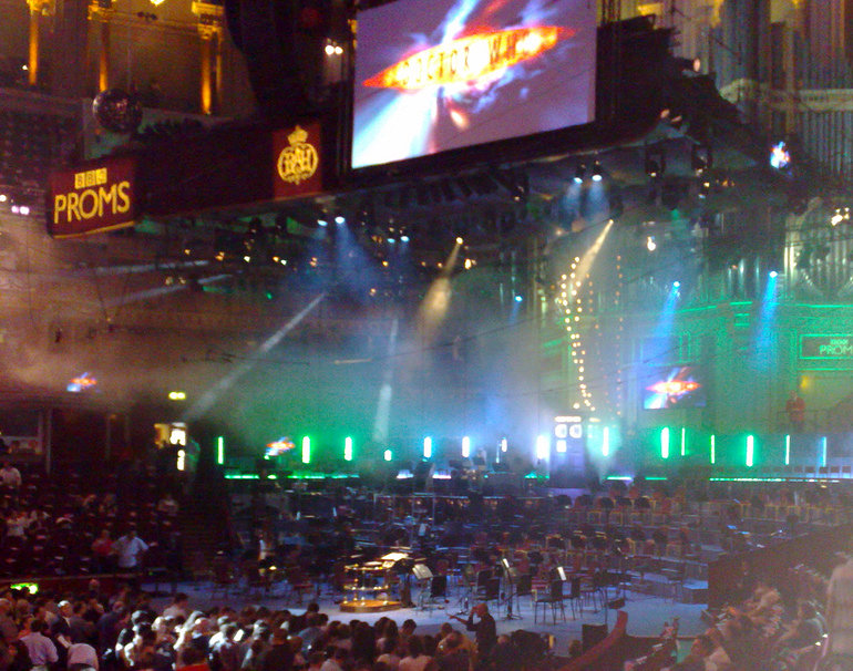 The Royal Albert Hall, the empty stage but for the TARDIS