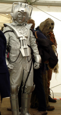 Dalek Invasion of Portsmouth 2013: A Cyberman and a couple of Scarecrows.