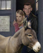 The Doctor, Rose and a donkey