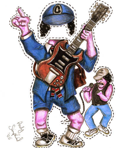 Angus Young or Cre'at Young from the Rock Band AC/DC