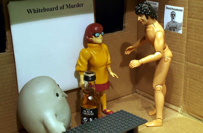 Chief Inspector Grey-um #1 - Grey-um and Dinkley with Chief Super Naked Tom Baker in his office.