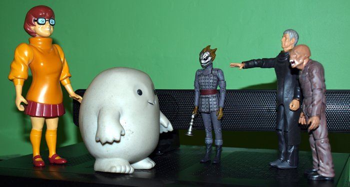 Chief Inspector Grey-um #1 - Grey-um and Dinkley with Spock, Sally the Silurian and Wilbo the Weevil.