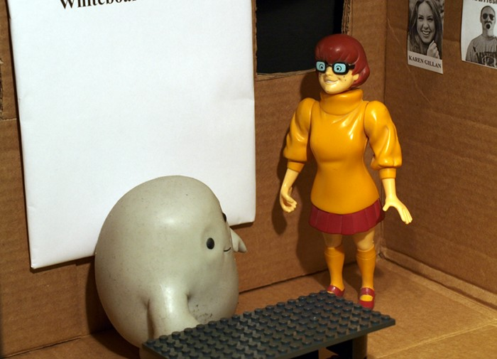 Chief Inspector Grey-um #1 - Grey-um and Velma in his office.