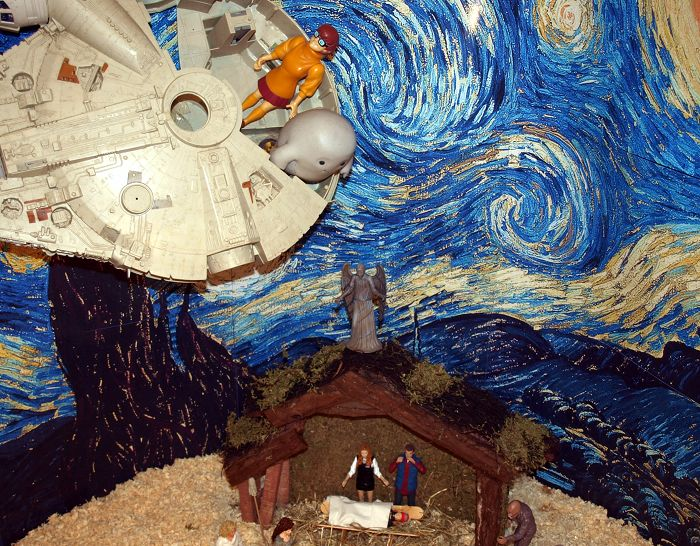 Chief Inspector Grey-um #1 - Grey-um about to jump from the Falcon onto the stable.