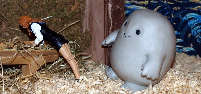 Chief Inspector Grey-um #1 - Police outfit Amy bending over in front of Grey-um.