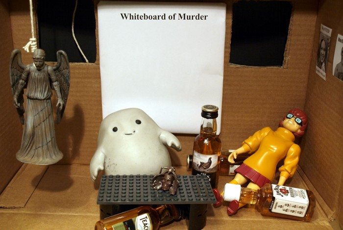 Chief Inspector Grey-um #1 - Grey-um and Dinkley in his office, more miniatures and Wendy hanged in the background.