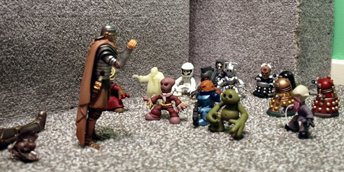 Chief Inspector Grey-um #1 - Randy, dead Cyril and gawpers in TV room, below futon.