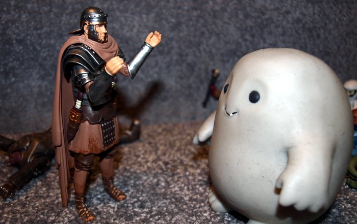 Chief Inspector Grey-um #1 - Close up of Randy the Roman and Grey-um.