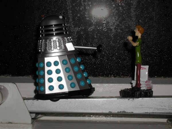 Mr. Dalek looks out of the window