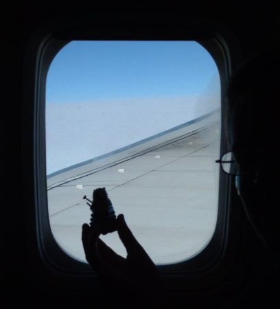 Mr. Dalek looks out of the aeroplane window