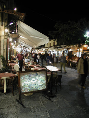 Bustling Rhodes Old Town by night